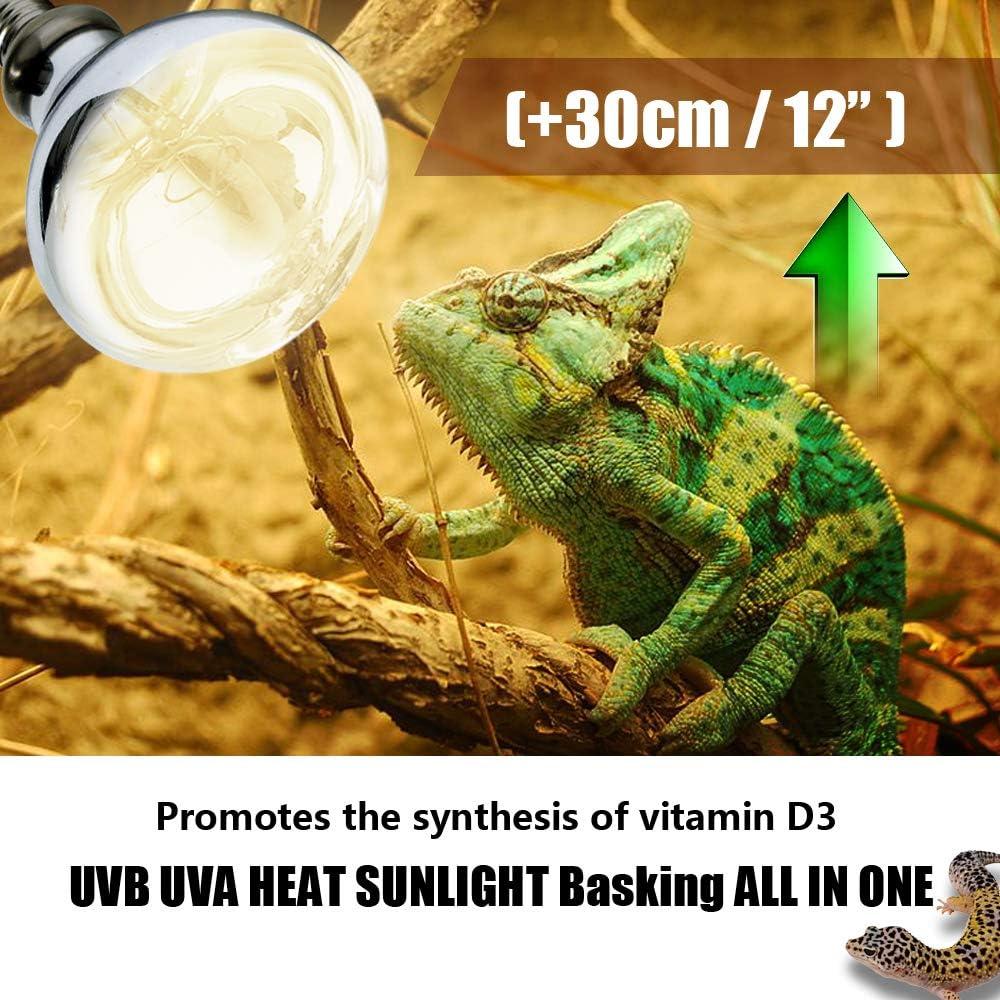 Reptile Heat Lamp 125W Basking Spot Heat Bulb//Lamp//Light UVA UVB Mercury Self-ballasted Vapor Bulb High Intensity Sun Simulating Bulb for Reptile and Amphibian