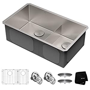 Kraus KHU103-32 Standart PRO Kitchen Sink Double Bowl, 32, 60/40