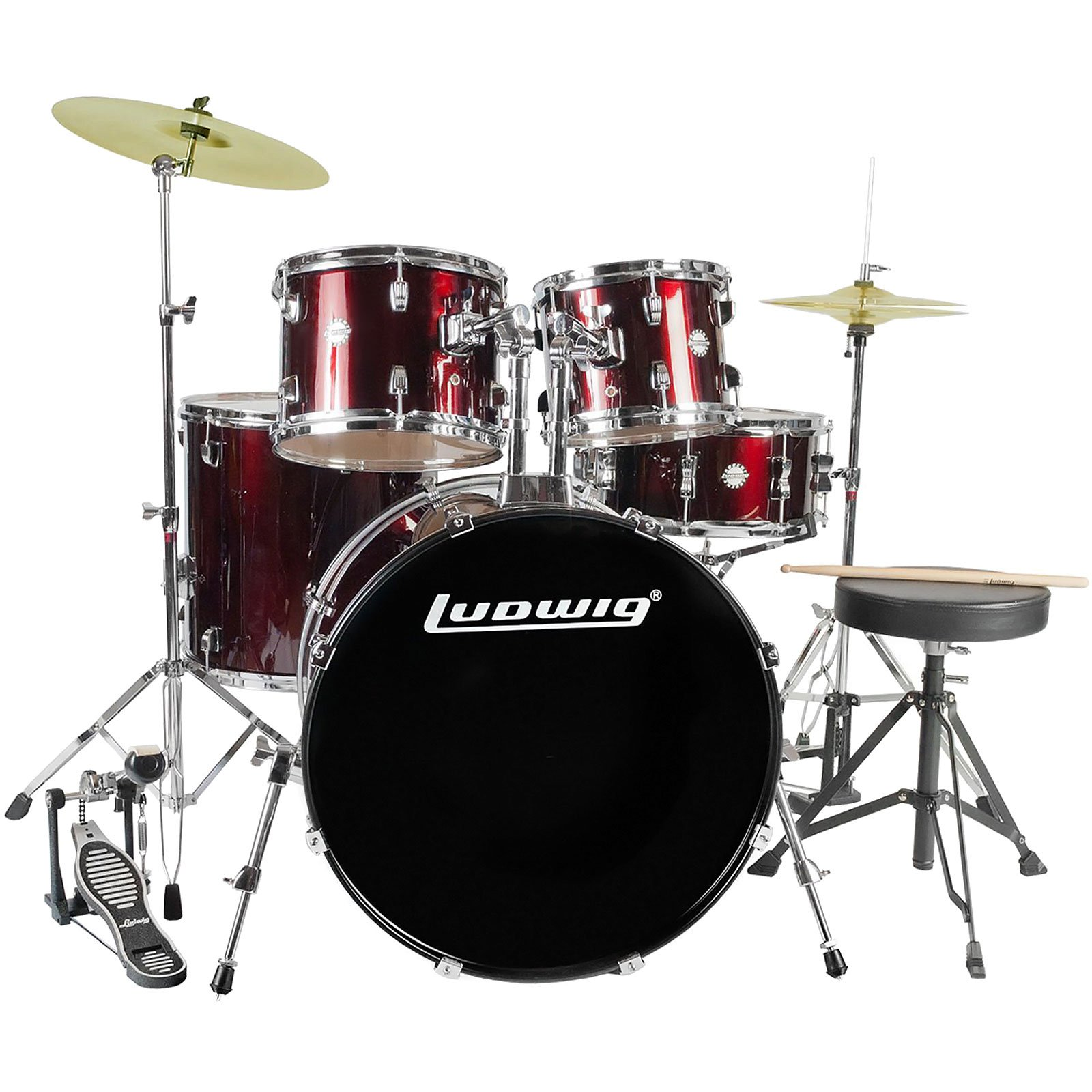 Ludwig Accent Drive 5-Pc Drum Set (LC1754) Wine Red Sparkle - Includes: Hardware, Throne, Pedal, Cymbals, Sticks & Drumheads