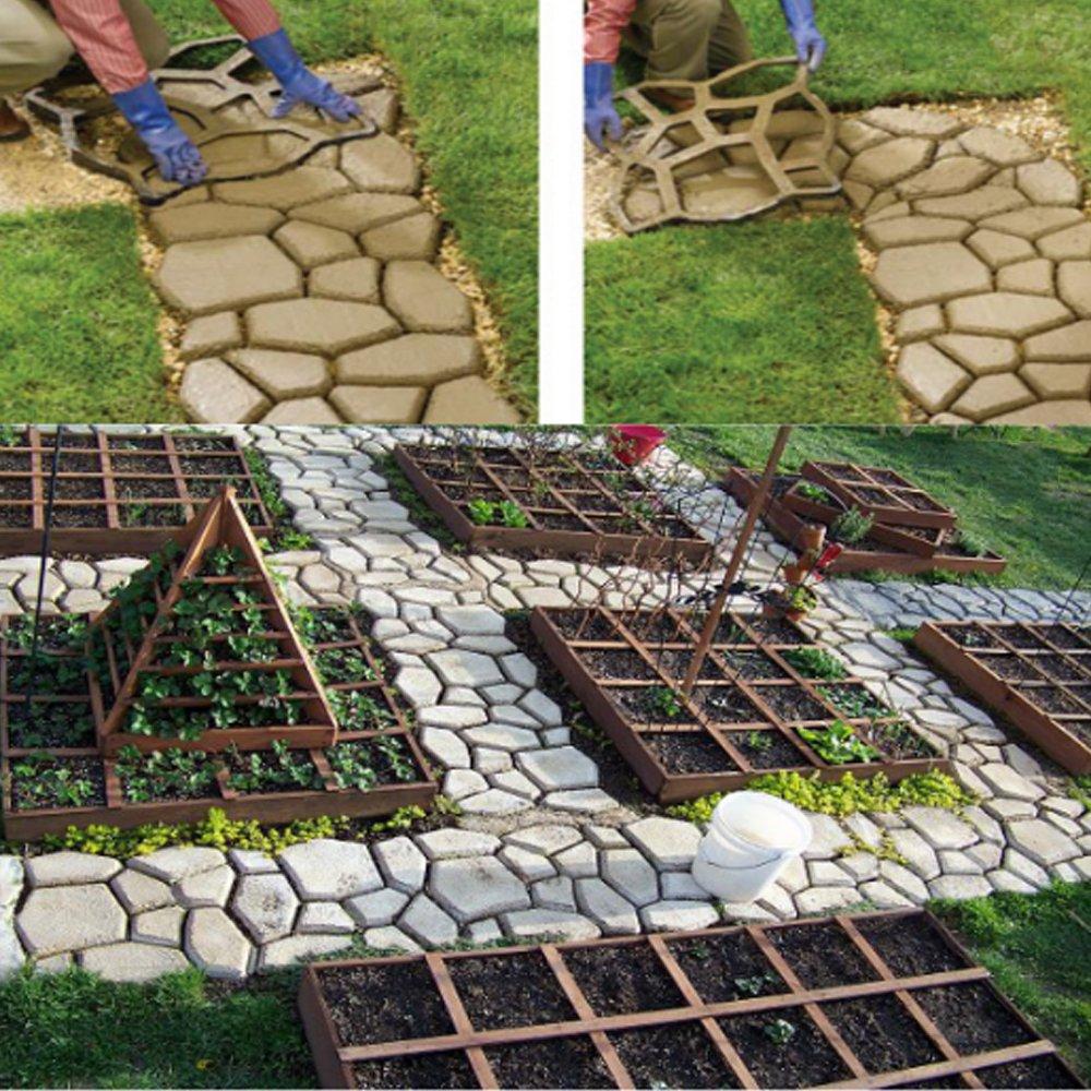 Plus Size Walk Maker Reusable Concrete Path Maker Molds Stepping Stone Paver Lawn Patio Yard Garden DIY Walkway Pavement Paving Moulds 19.6x19.6x1.7 Irregular