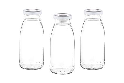 15 o 24 x 250 ml Botellas Vacías mil Leche botellas pequeñas Zumo Botella con rosca