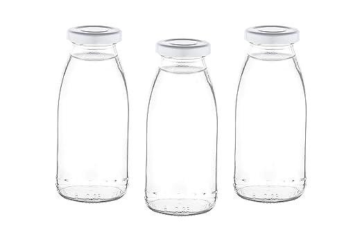 slkfactory 15 Smoothie Botella Botellas de Cristal vacío a 250 ML mil Botellas Licor Botellas Botellas de Leche Cristal con Cierre Tapa Blanco Incluso para ...