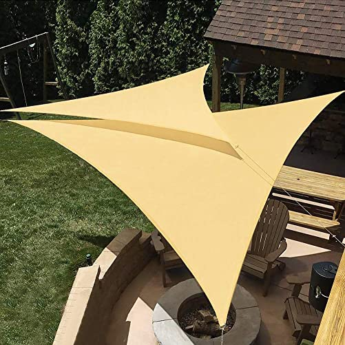 Quictent 185G HDPE Right Triangle Sun Shade Sail Canopy 98 UV Block Top Outdoor Cover Patio Garden Sand 16.5 x 16.5 x 23 ft