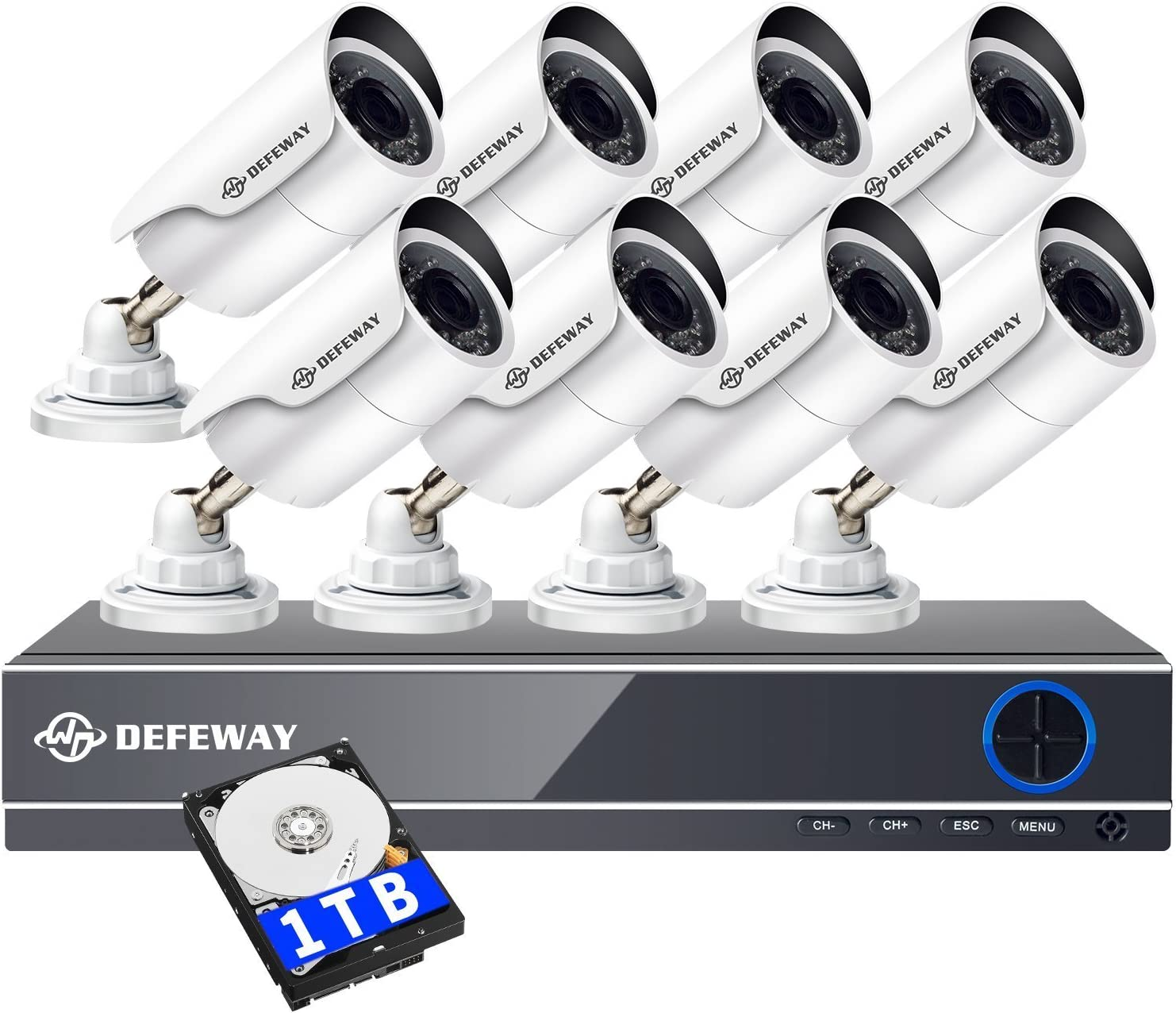 DEFEWAY 8 Channel Security Cameras System with 1080N AHD Audio DVR,8pcs Wired Waterproof Outdoor Indoor Bullet Surveillance Cameras,1TB Hard Drive Included