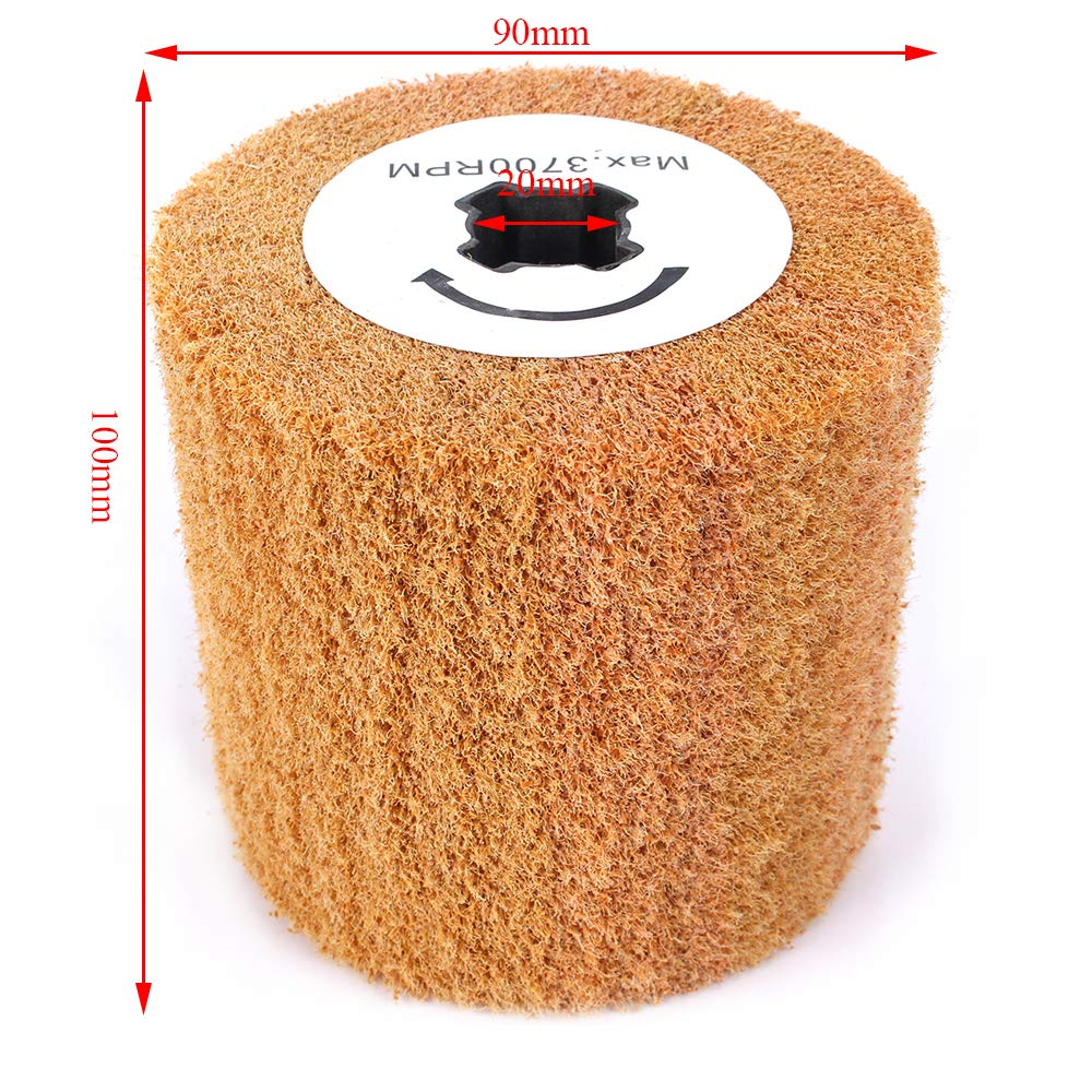 Grit 240 4 Inch Contour Non-Woven Abrasive Flap Wheel Wire Drawing Polishing Burnishing Wheel for Paint Rust and Removal Bare Metal Surface