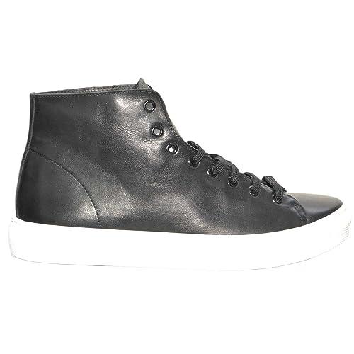 11309207bd Calzature Uomo Sneakers Alta Nera Vera Pelle Made in Italy Fondo Bianco  Antiscivolo