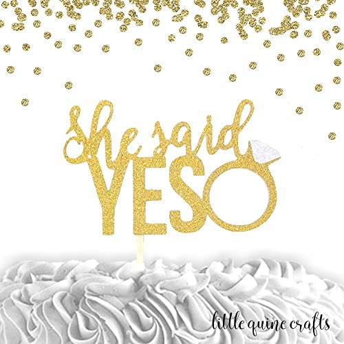 1 pc she said yes ring cake topper script fonts gold glitter wedding bridal shower bachelorette