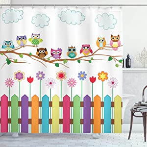 Ambesonne Owls Shower Curtain, Owls on a Branch Sunny Day in Countryside Farmhouse Fences Wildflowers Holidays Art, Cloth Fabric Bathroom Decor Set with Hooks, 75
