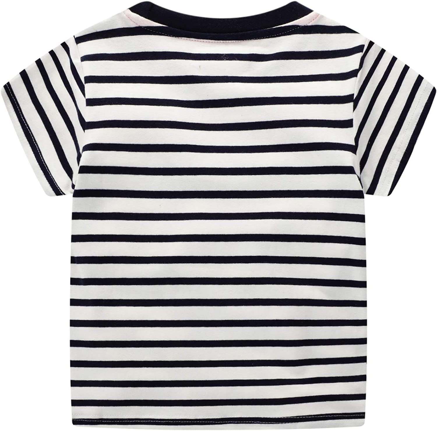 Short Sleeve T-Shirts and Shorts for Little Boys Cotton Cartoon Stripe Print Animal Pattern 1-8 Years Old