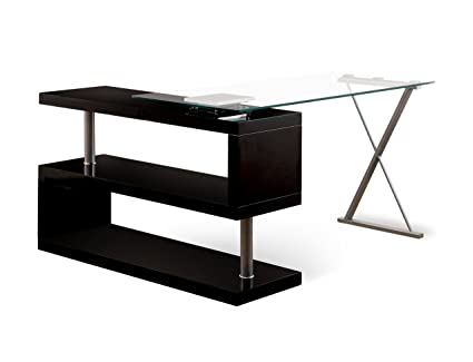 Glass Top Office Desks Oak Homes Inside Out Iohomes Lilliana Black Sshaped Glasstop Office Desk Amazoncom Amazoncom Homes Inside Out Iohomes Lilliana Black Sshaped