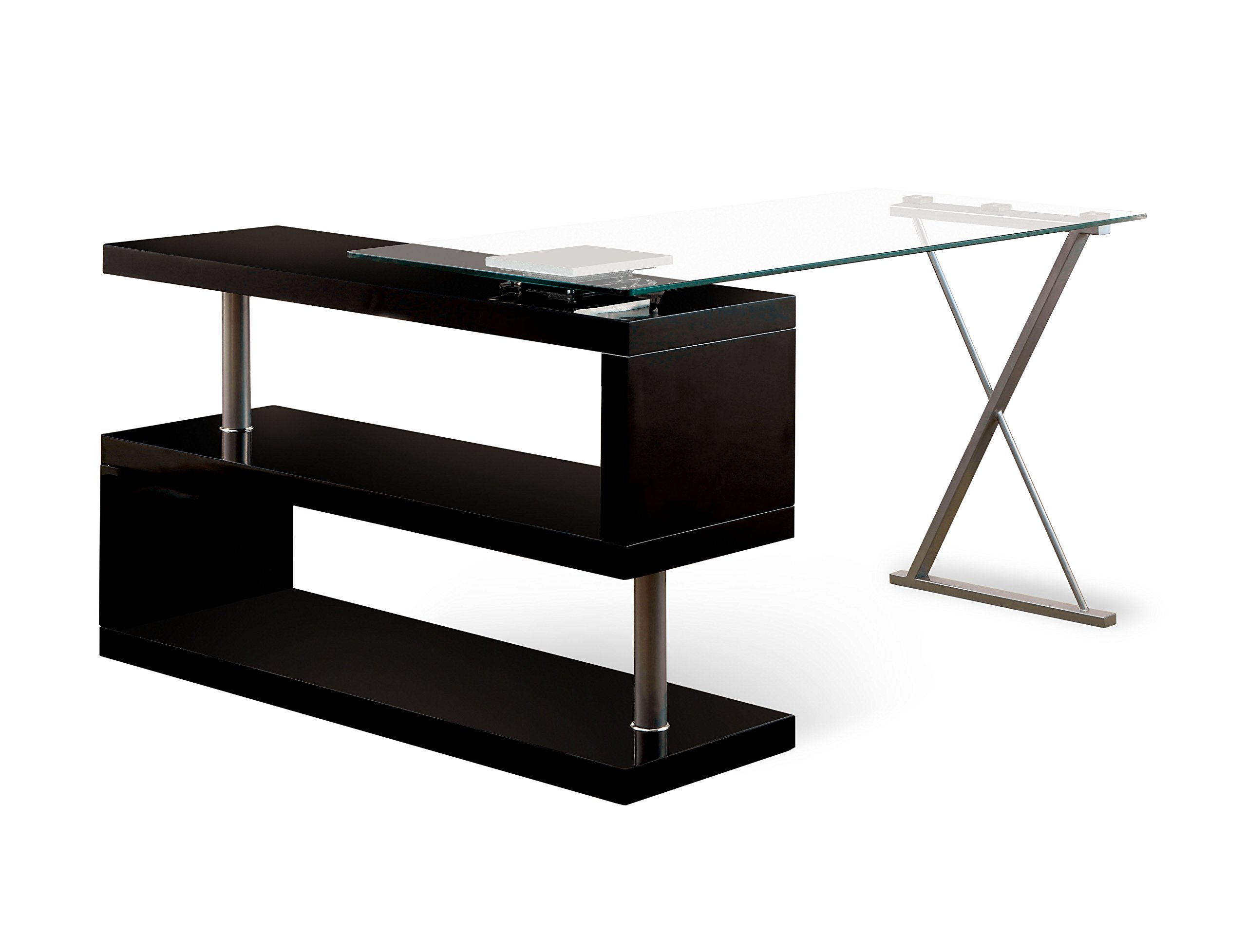 HOMES: Inside + Out ioHOMES Lilliana Black S-Shaped Glass-Top Office Desk, Black