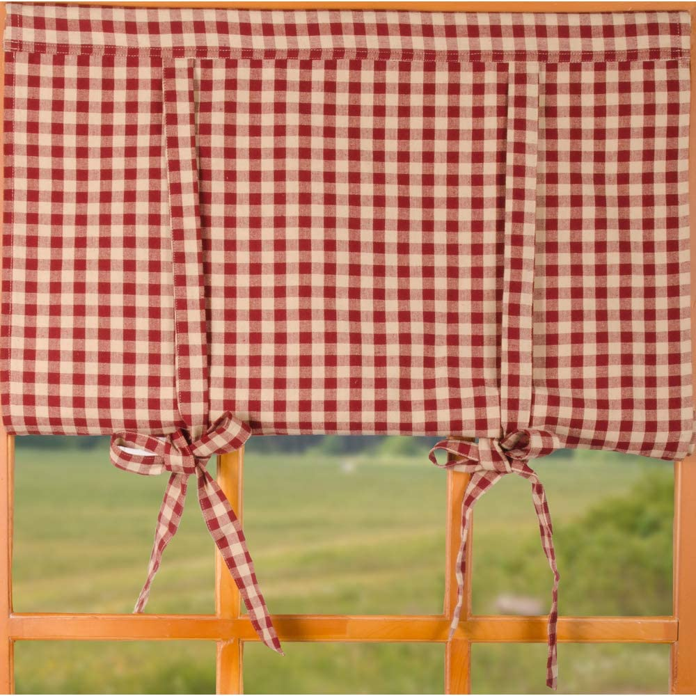 Home Collections by Raghu Barn Red-Nutmeg Heritage House Check Roll Tie Valance