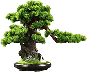 Potted Plant Simulation Indoor Decoration Artificial Tree in Ceramic Pot Fake Plant Decoration Zen Garden Decor Artificial Bonsai Tree for Home DecorIndoor, Desktop Display, 23.6 X 19.7 X 11 Inches Ar