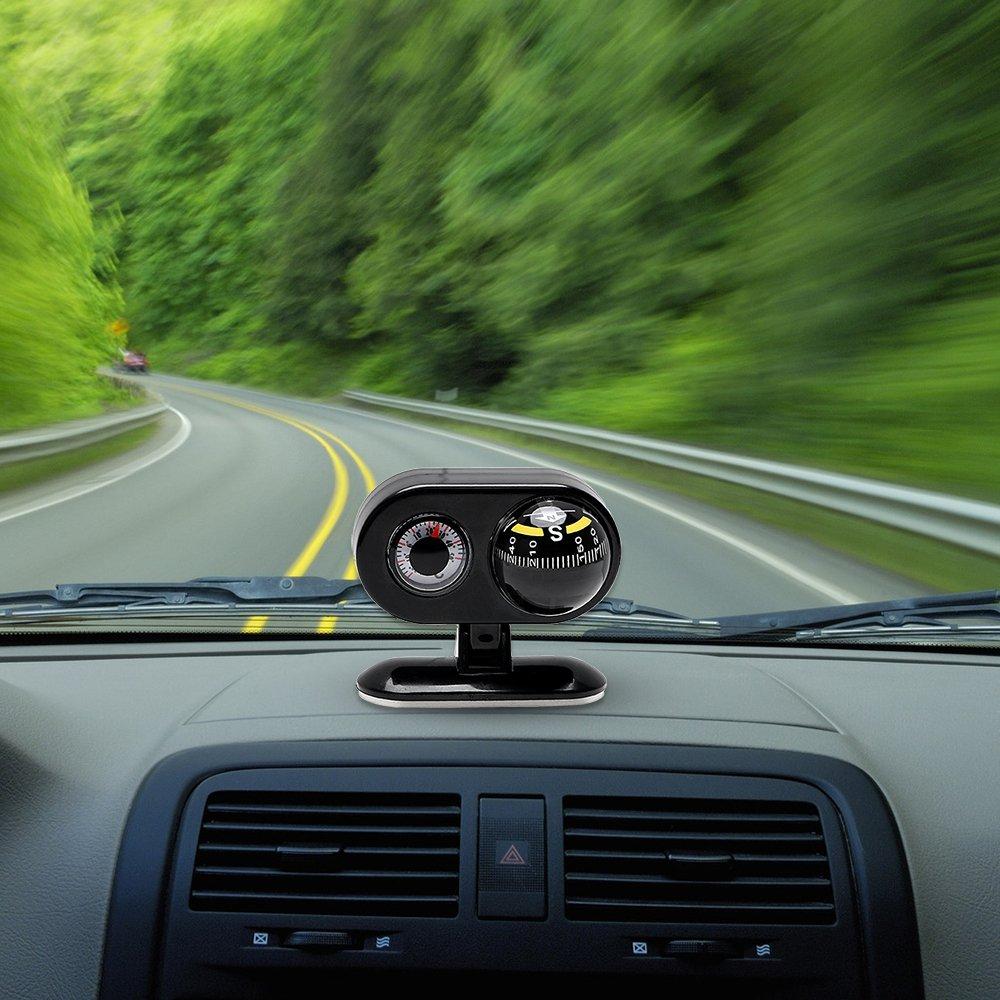 Car Dashboard Ornament Compass Thermometer Interior Decors