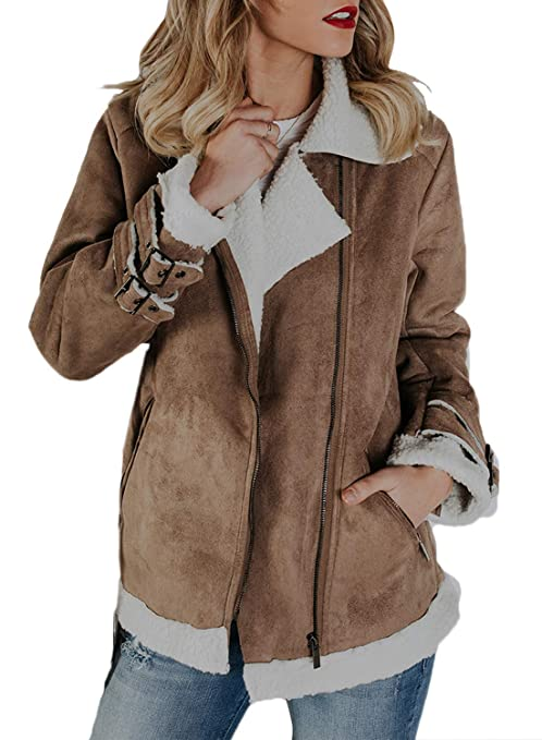 HOTAPEI Womens Jackets and Coats Cozy Thick Warm Faux Suede Zip up Slim Fit Pockets Long Sleeve Open Front Casual Cardigan Coats Outfit for Winter Fall Work Black Medium