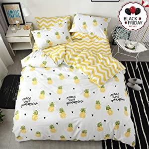 VCLIFE Twin Queen Bedding Set Modern Pineapple Fruit Printed Duvet Cover, 3 Pieces Bedding Duvet Cover Collection Without Comforter, 200 Series Cotton Soft, Hypoallergenic, Durable, Lightweight, Twin