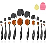Oval Makeup Brush, ISASSY 10 PCS Professional Soft Toothbrush Shaped Design Oval Make Up Brushes Set Foundation Concealer Blending Cosmetic Brushes