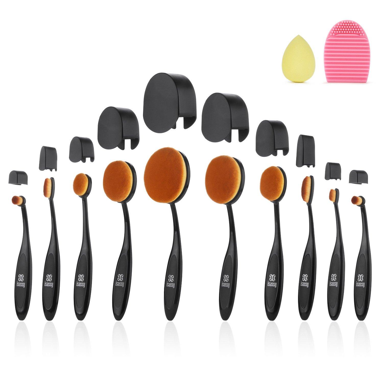 Oval Makeup Brushes, ISASSY 10 PCS Professional Soft Toothbrush Shaped Design Oval Make Up Brush Set Foundation Concealer Blending Cosmetic Brushes SAVFY