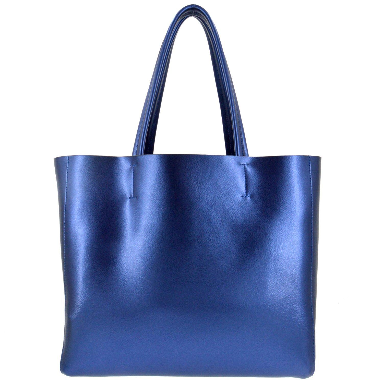 Yiwanda Women's Genuine Leather Handbags Shoulder Bags Satchel Large Tote Bags (Blue) by Yiwanda