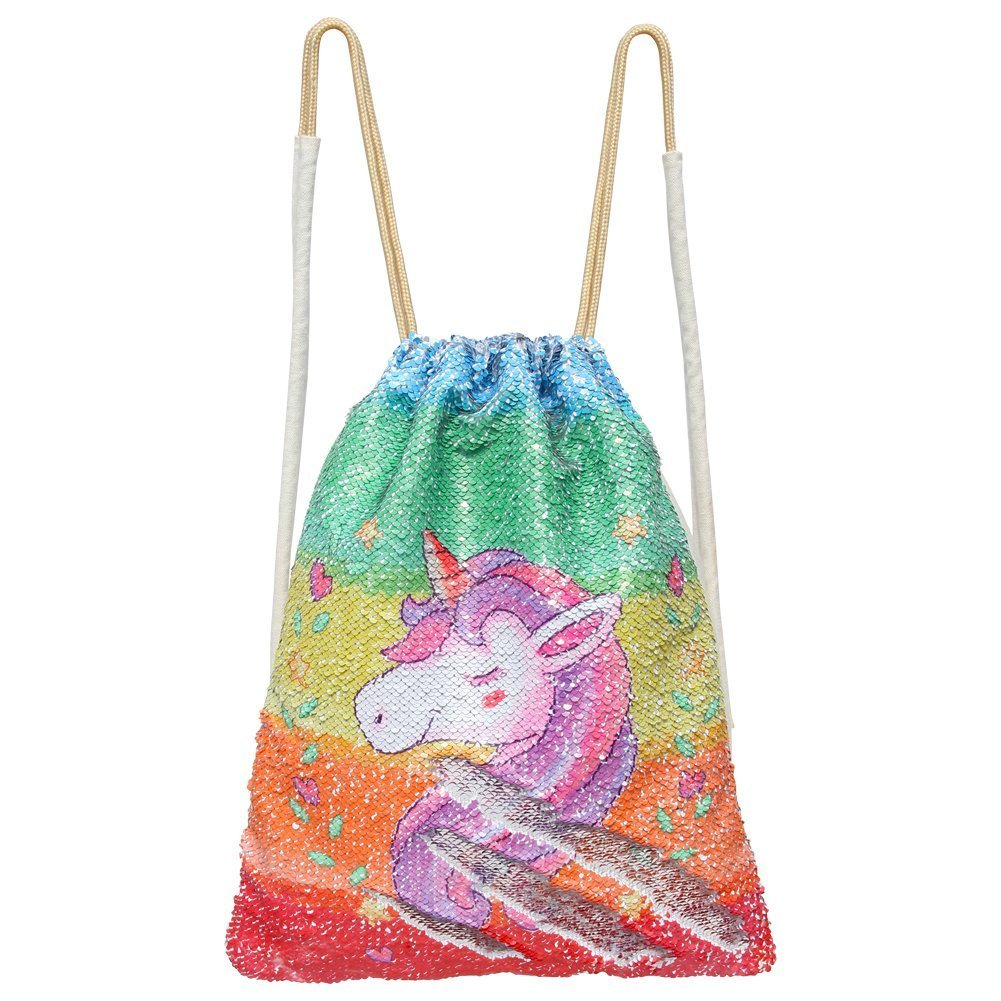 Mermaid Drawstring Bag Magic Reversible Sequin Backpack Glittering Dance School Bag for Yoga Outdoors Sports, for Girls Women Kids (Colorful Unicorn)