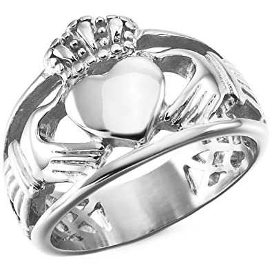 842ff6e8dbe1e INBLUE Men's Stainless Steel Ring Silver Tone Irish Celtic Knot Irish  Claddagh Friendship Love Heart Royal King Crown
