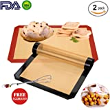 """Silicone Baking Mats 2-Pack Include Free Eggbeater for Baking Sheets ,Half Sheet Size Silicone Baking Mats 16.5"""" x 11.5"""" , Sil Pads For Baking Non Stick Silicone Baking Mats (Black&Red)"""