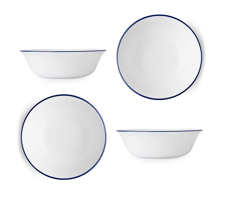 Corelle Livingware Lia 18オンス スープ/シリアルボウル - ホワイト コバルトブルーリップ付き (4個セット) B07PS24W14