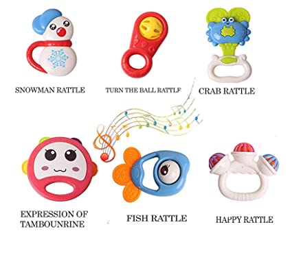 Shreeja Collections Plastic Plush Mini Bell Happy Rattles Baby Fish, Crab (Medium) - Pack of 6
