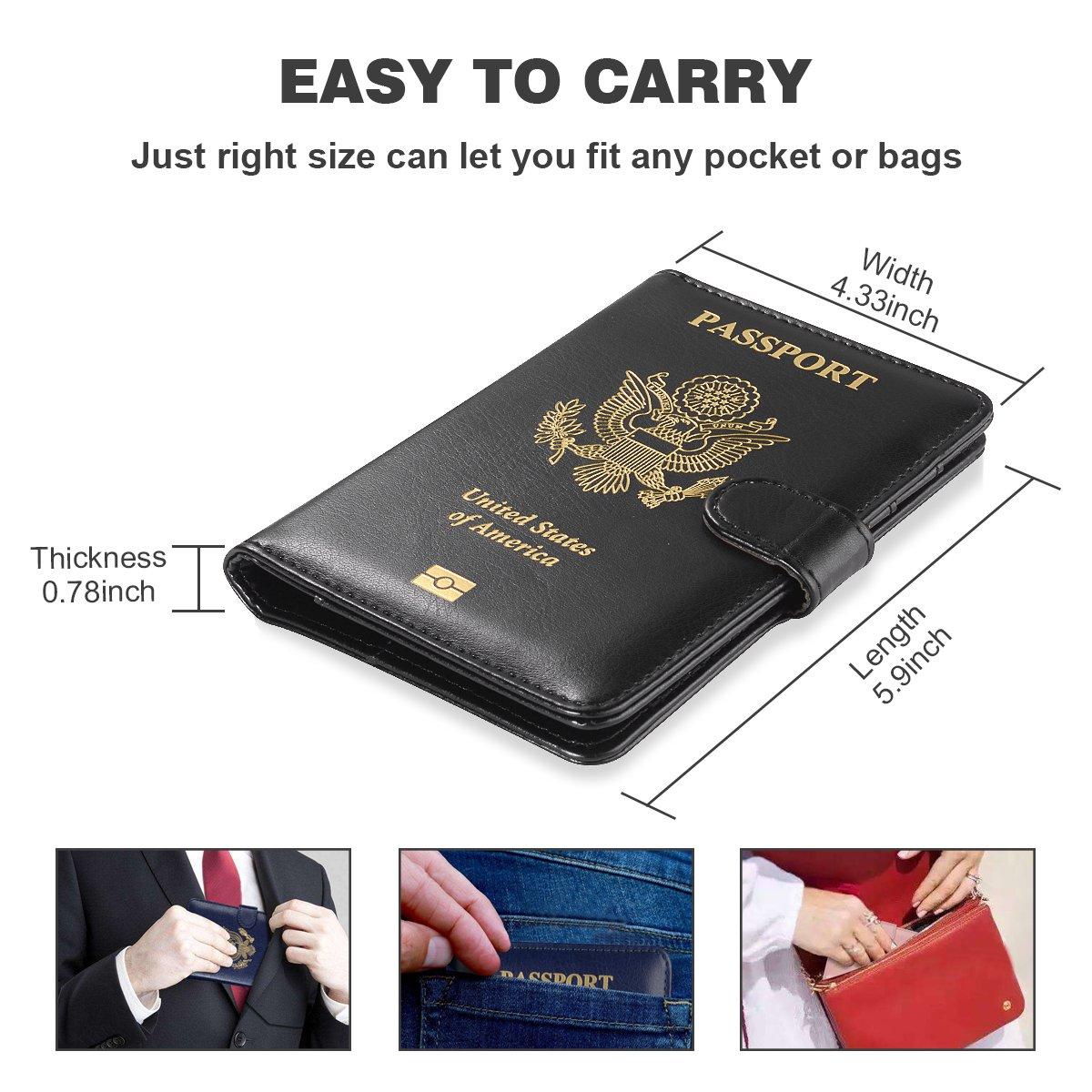 Passport Wallet for Men//Womem Blue Passport Book Cover RFID Blocking Travel Passport Wallet Card Organizer Passport case Maxjoy Leather Passport Holder