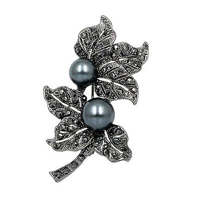 smile-coco Broches de Flores de Cristal Negro con Diamantes de ...