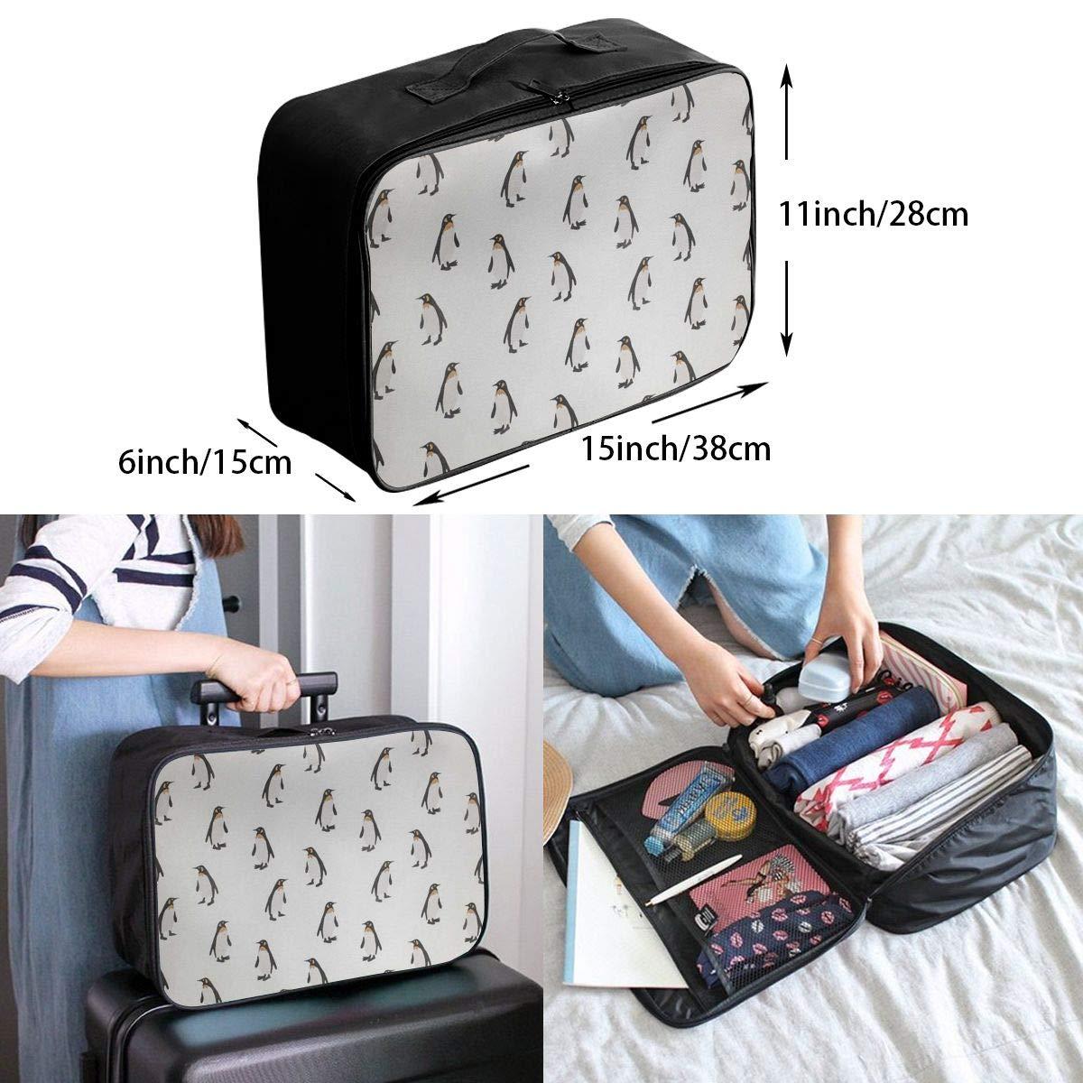 Travel Luggage Duffle Bag Lightweight Portable Handbag Penguin Pattern Large Capacity Waterproof Foldable Storage Tote