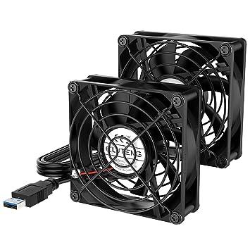 ELUTENG Ventilador USB 80mm Doble Fan 5V 0.24A Ventilador para PC 2 In 1 Cooler USB Fan 8cm Ventilador Portatil para Laptop/Receptor/Armario AV/Proyector: ...
