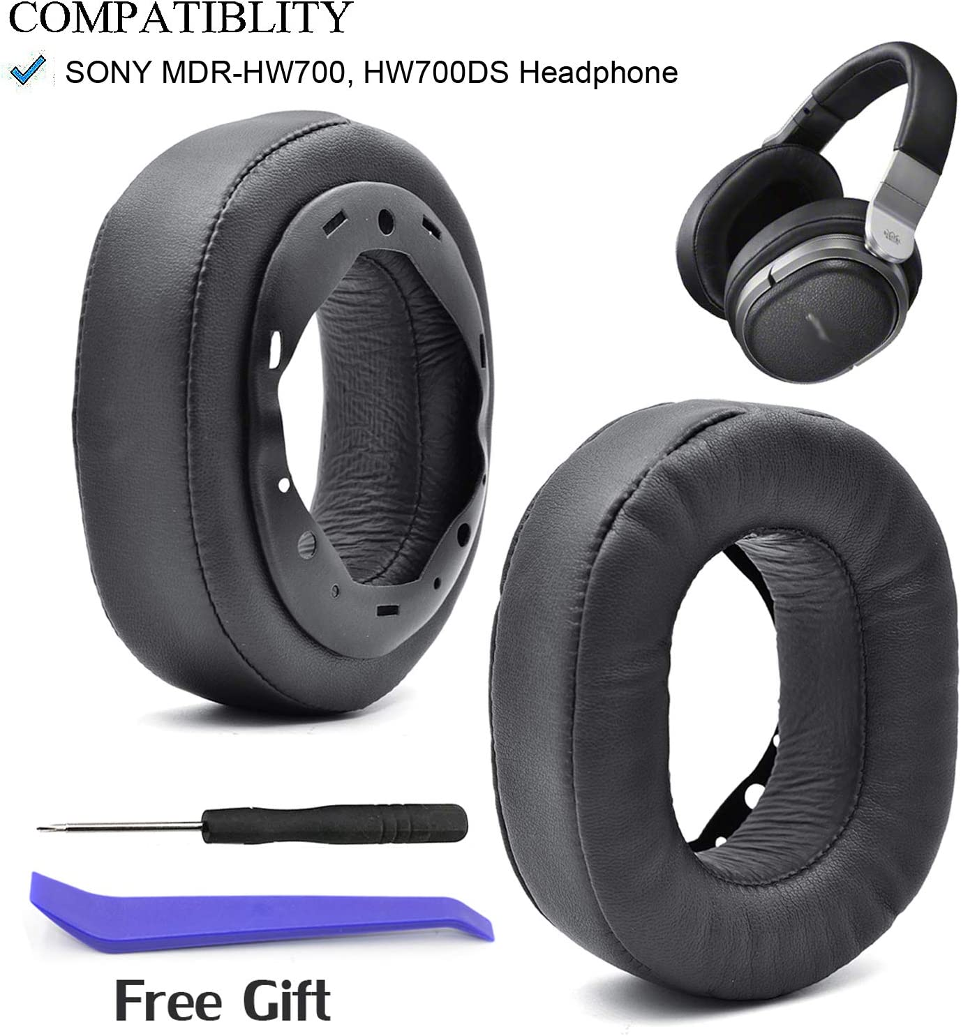 Defean Replacement Potein Leather and Memory Foam Cushion for Sony MDR-HW700 MDR-HW700DS Wireless Headphones