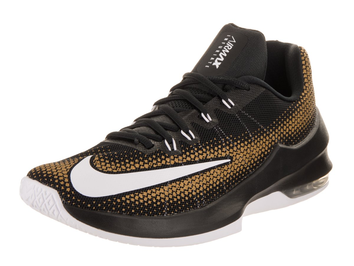 NIKE Men's Air Max Infuriate Low Basketball Shoe B01LEIW072 8 D(M) US|Black White Metallic Gold