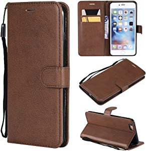UDIKEFO iPhone 6 Plus Wallet Case, iPhone 6s Plus Case, Premium PU Leather Wallet Case Flip Folio Cover with [Card Slots][Wrist Strap] Compatible iPhone 6 Plus/6s Plus 5.5 Inch Brown
