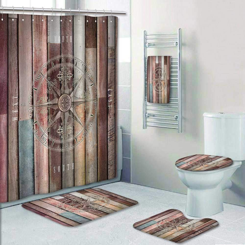 Philip-home 5 Piece Banded Shower Curtain Set Marine Life Navy Sea Life Yacht Theme Colored Wood Backdrop with Rudder likeCompass Image Pattern Printing Suit