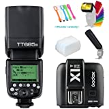 Godox TT685N I-TTL 2.4GHz GN60 High-Speed Sync 1/8000s Master Slave Flash Speedlite Speedlight +Godox X1T-N Wireless Trigger Transmitter For Nikon Cameras+Diffuser & Filter&Snoot+USB LED Free Gift