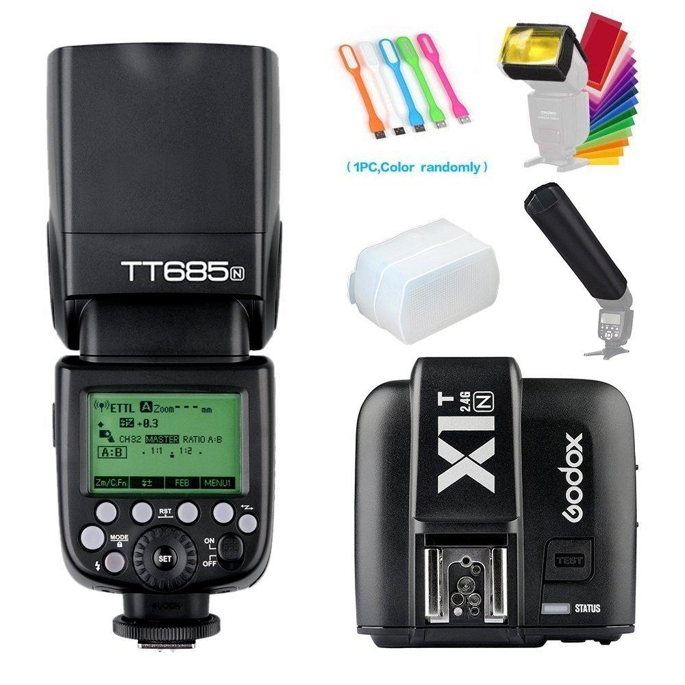 Godox TT685N I-TTL 2.4GHz GN60 High-Speed Sync 1/8000s Master Slave Flash Speedlite Speedlight +Godox X1T-N Wireless Trigger Transmitter Compatible for Nikon Cameras+Diffuser & Filter&Snoot+USB LED