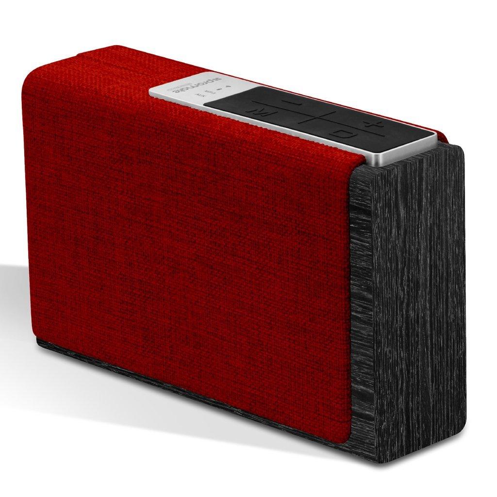 Promate Bluetooth/Wi-Fi ワイヤレス スマート スピーカー XLサイズ 15W microSDスロット/3.5mm オーディオジャック/インターネットラジオ機能付き ブラック/レッド StreamBox-XL BLACK/RED B071YMC9ZL