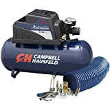 Air Compressor, Portable, 3 Gallon Horizontal, Oilless, w/ 10 Piece Accessory Kit Including Air Hose & Inflation Gun (Campbel