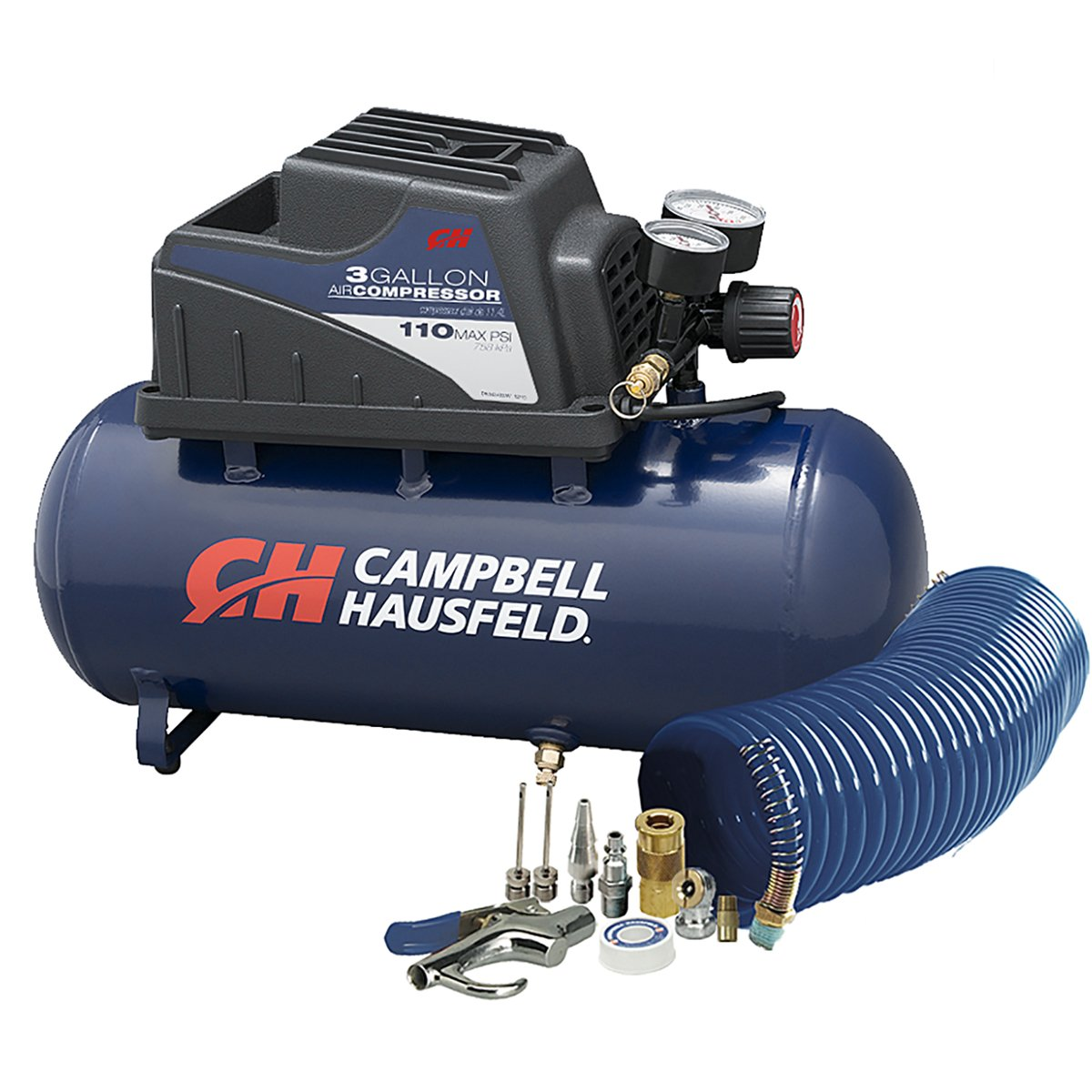 Air Compressor, Portable, 3 Gallon Horizontal, Oilless, w/ 10 Piece Accessory Kit Including Air Hose & Inflation Gun (Campbell Hausfeld FP209499AV) by Campbell Hausfeld