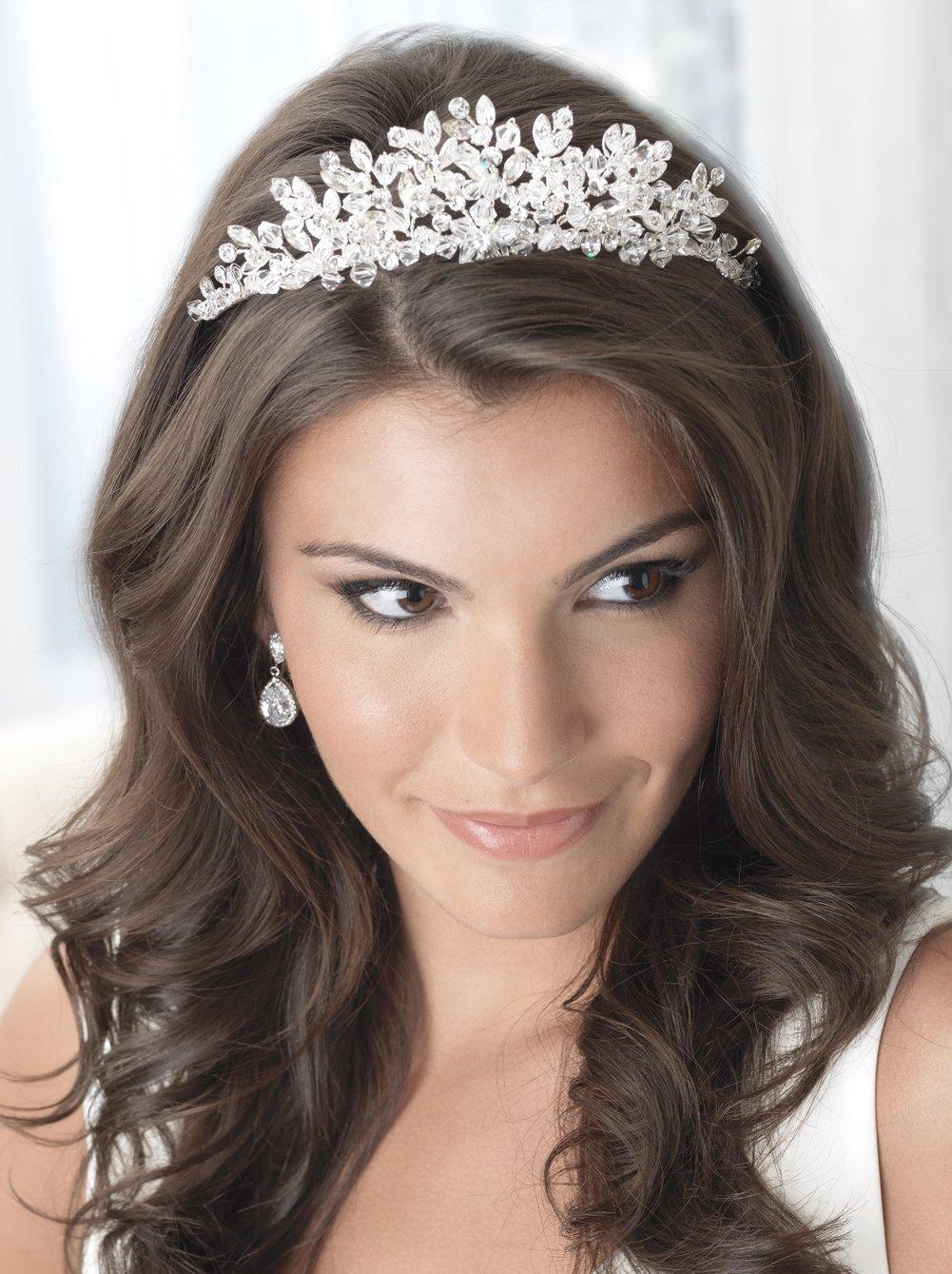 USABride Floral Rhinestone and Crystal Wedding Tiara, Special Occasion Headpiece 3233