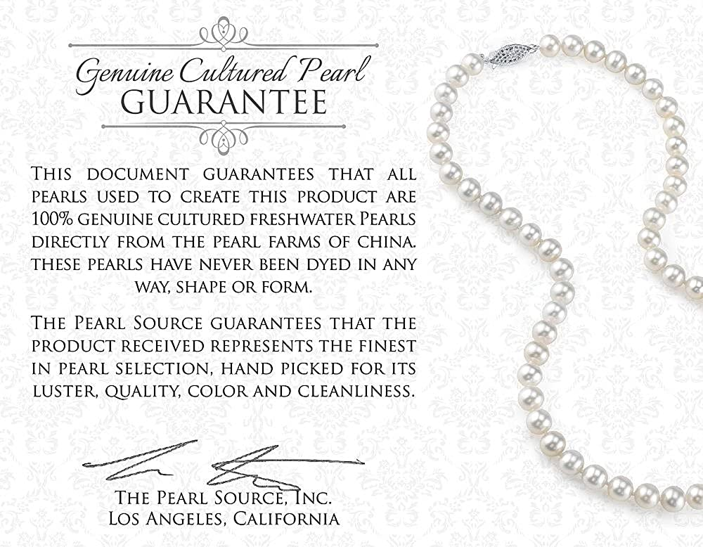 THE PEARL SOURCE 8-9mm Genuine White Freshwater Cultured Pearl /& Cubic Zirconia Kaylee Pendant Necklace for Women