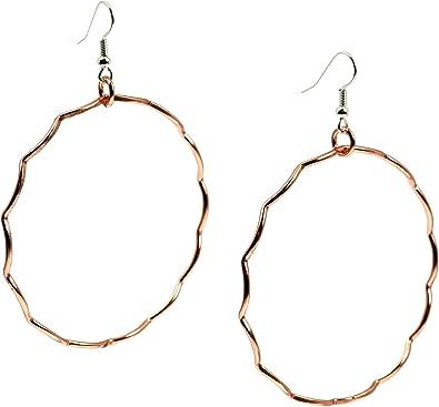 Hammered Copper Hoop Earrings Small 1 Inch Hoop Earrings Beaded Hoops