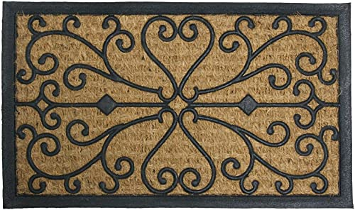 Rubber-Cal Harmony Outdoor Coco Decorative Rubber Doormat, 18 x 30-Inch