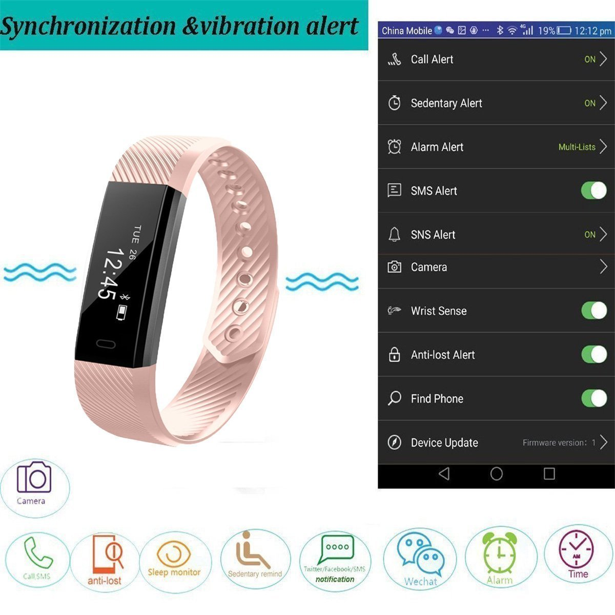 Fitness Tracker Watch, Smart Activity Tracker BluetoothPedometer Waterproof Sports Bracelet with Sleep Monitor Calorie/Step Counter for Android IOS IPhone Samsung Nexus LG and More (PInk)