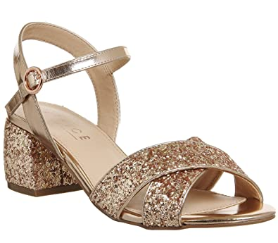 e03dba9fb63c Office Merlot Block Heel Sandal Rose Gold Glitter - 5 UK  Amazon.co ...