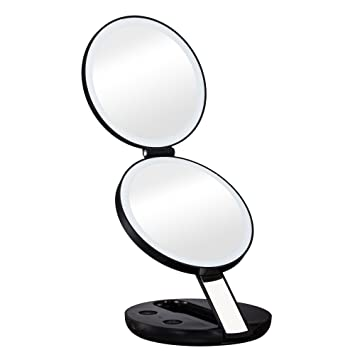 Gotofine LED Lighted Travel Makeup Mirror with 10x Magnifying Mirror    Double sided Luxury Compact. Amazon com  Gotofine LED Lighted Travel Makeup Mirror with 10x