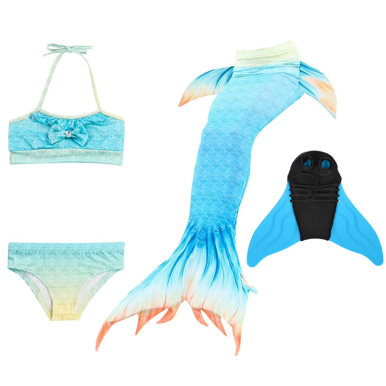 DecStore 4PCS Girls Swimsuit Mermaid Tail Swimwear Bikini Set Costume for Swimming with monofin