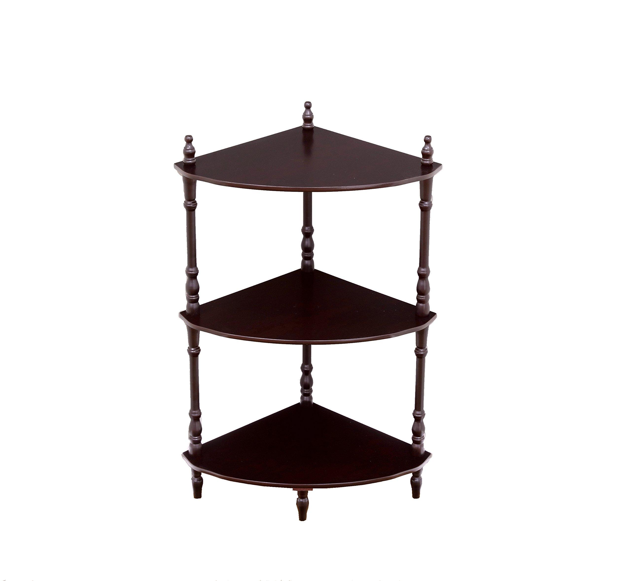 Frenchi Home Furnishing 3-Tier Corner Stand, Cherry